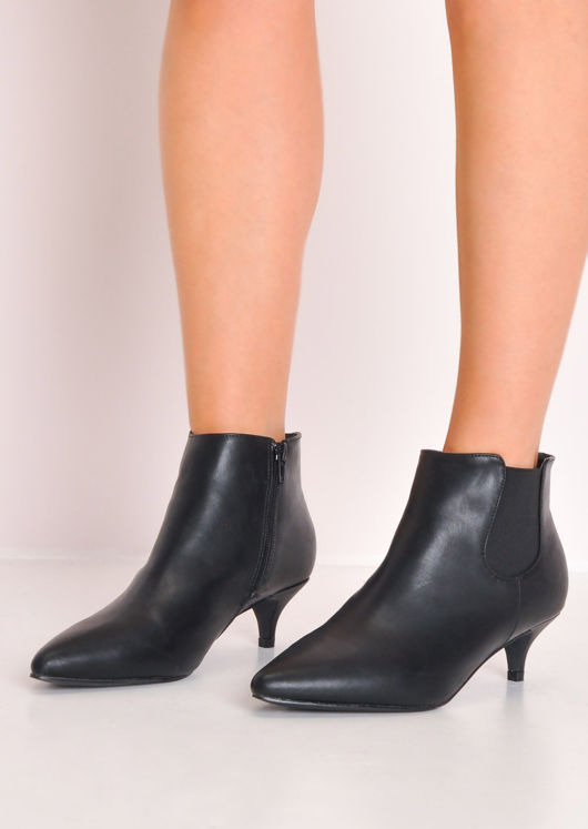 Faux Leather Kitten Low Heel Pointed Chelsea Ankle Boots Black