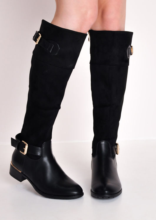 Faux Suede Flat Leather Riding Long Boots Black