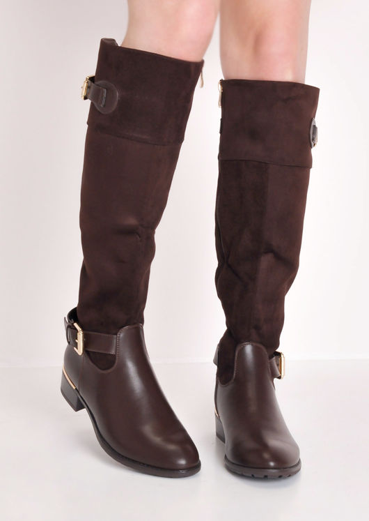 Faux Suede Flat Leather Riding Long Boots Brown