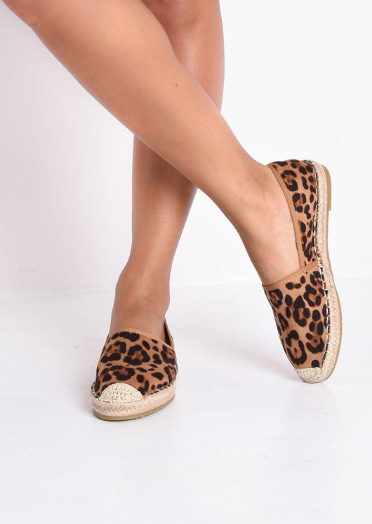 Faux Suede Leopard Print Flat Espadrilles Multi