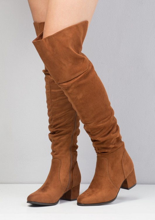 Faux Suede Over the Knee Block Heel Boots Brown