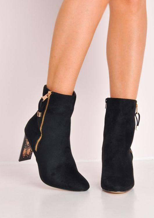 Faux Suede Perspex Slim Heel Ankle Boots Black