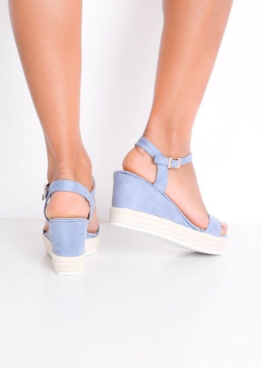 Faux Suede Platform Braided Cork Wedge Espadrille Sandals Light Blue