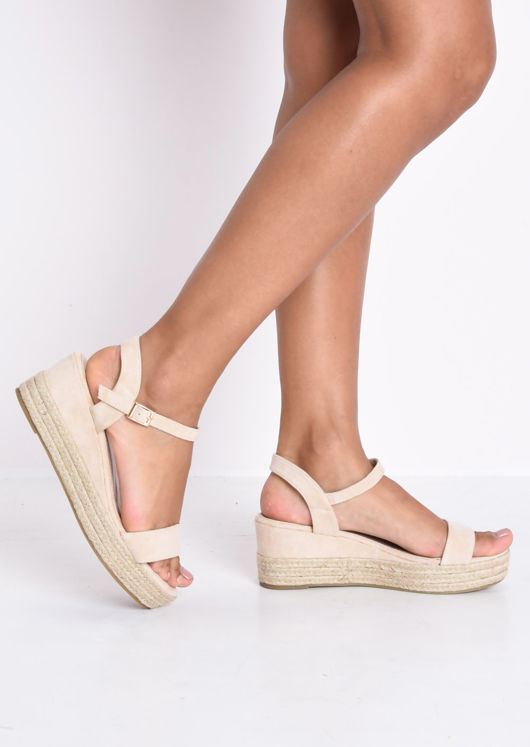 Faux Suede Platform Braided Cork Wedge Espadrille Sandals Beige