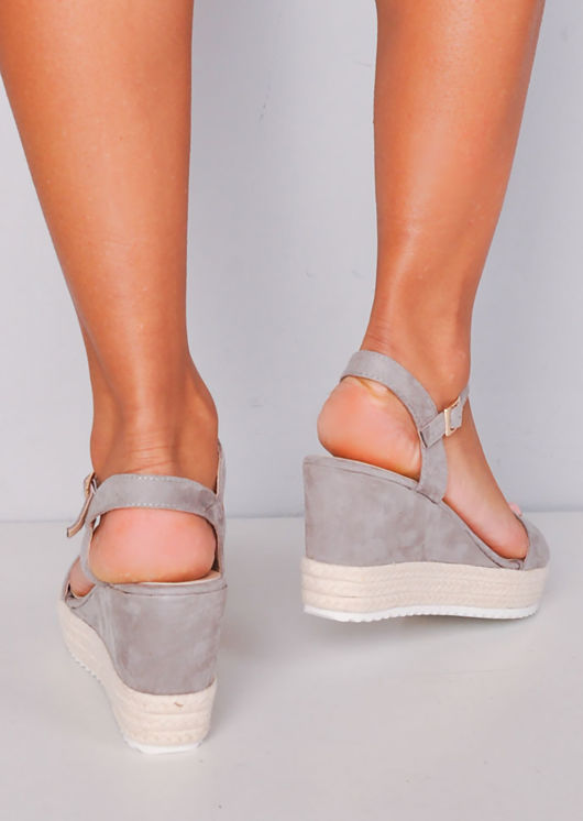 Platform Braided Cork Wedge Espadrille Sandals Grey