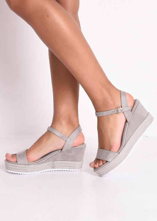 Faux Suede Platform Braided Cork Wedge Espadrille Sandals Grey