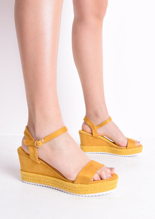 2e36c2465ab Faux Suede Platform Braided Cork Wedge Espadrille Sandals Mustard Yellow