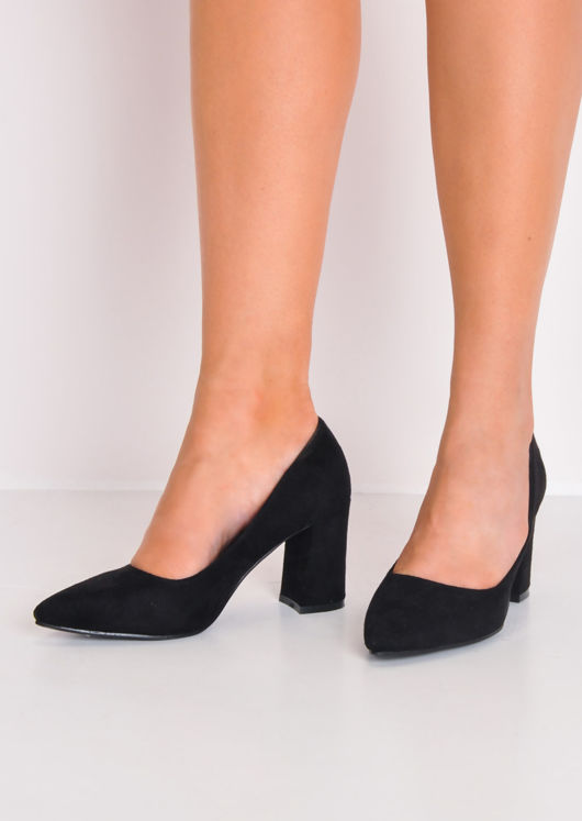 Faux Suede Pointed Court Heels Black