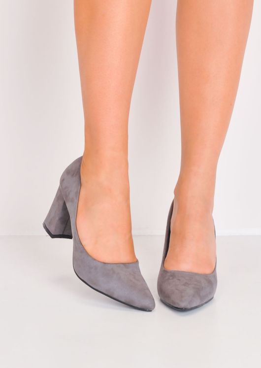 Faux Suede Pointed Court Heels Grey