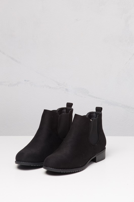 Faux Suede Slip On Chelsea Boots Black