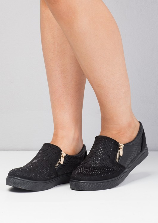 Faux Suede Snakeskin Diamante Slip on Trainers Black