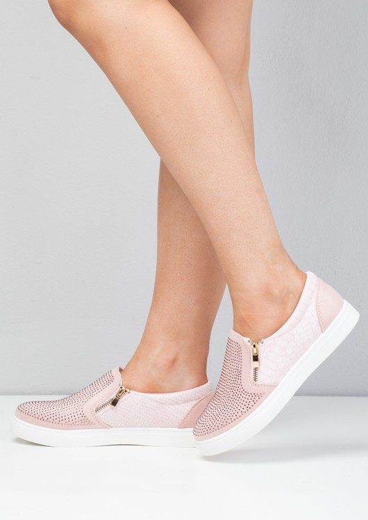 Faux Suede Snakeskin Diamante Slip on Trainers Pink