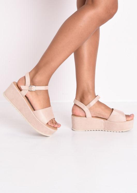 Faux Suede Strap Flatform Sandals Beige