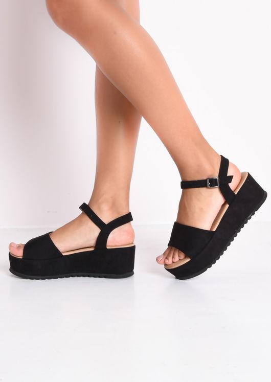 Faux Suede Strap Flatform Sandals Black