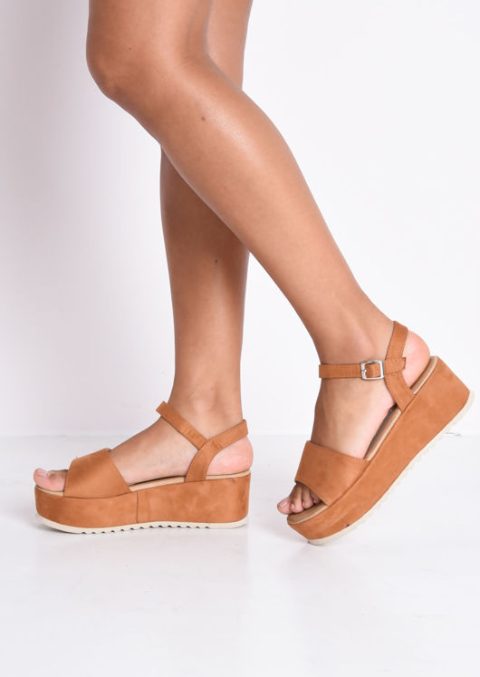 Faux Suede Strap Flatform Sandals Camel Brown