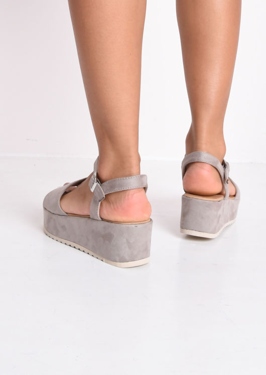 Faux Suede Strap Flatform Sandals Grey