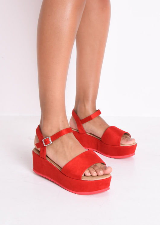 Faux Suede Strap Flatform Sandals Red