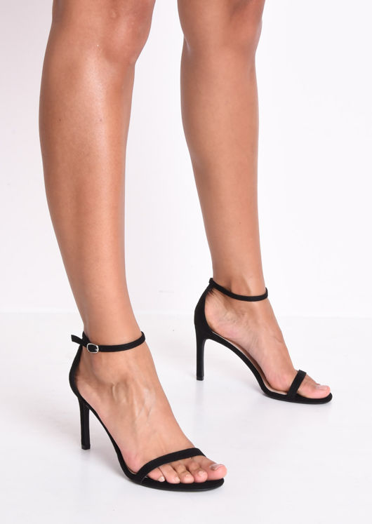 Faux Suede Strappy Barely There Sandal Heels Black