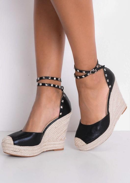f21cbe6bb49 Metallic Studded Strap Espadrille Wedge Sandals Black