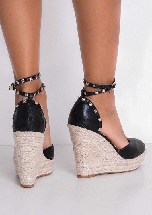 Metallic Studded Strap Espadrille Wedge Sandals Black