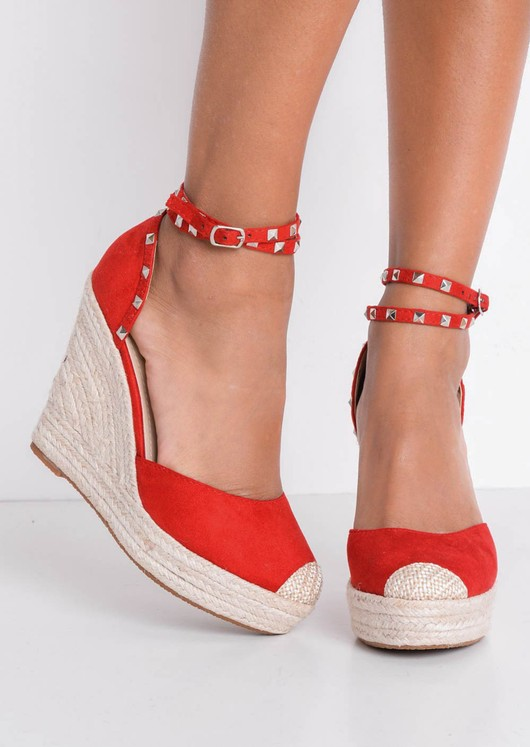 Faux Suede Studded Strap Espadrille Wedge Sandals Red