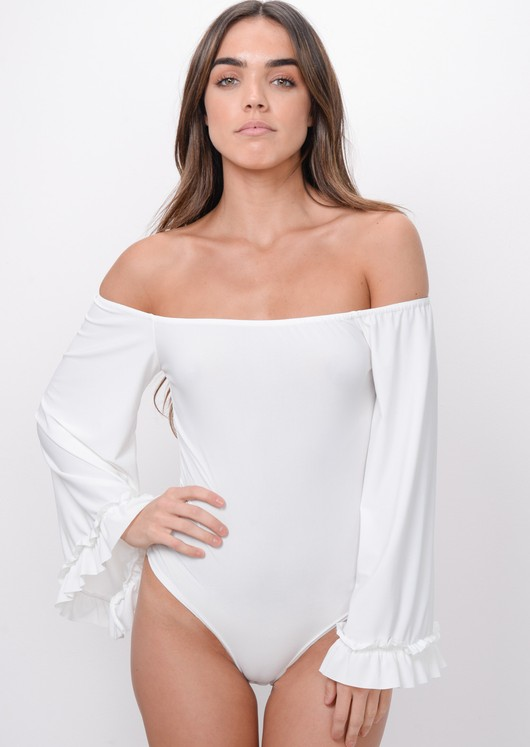Flare Sleeve Bardot Bodysuit White