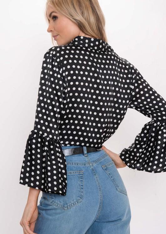 Flare Sleeve Polka Dot Shirt Black