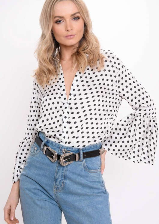 Flare Sleeve Polka Dot Shirt White