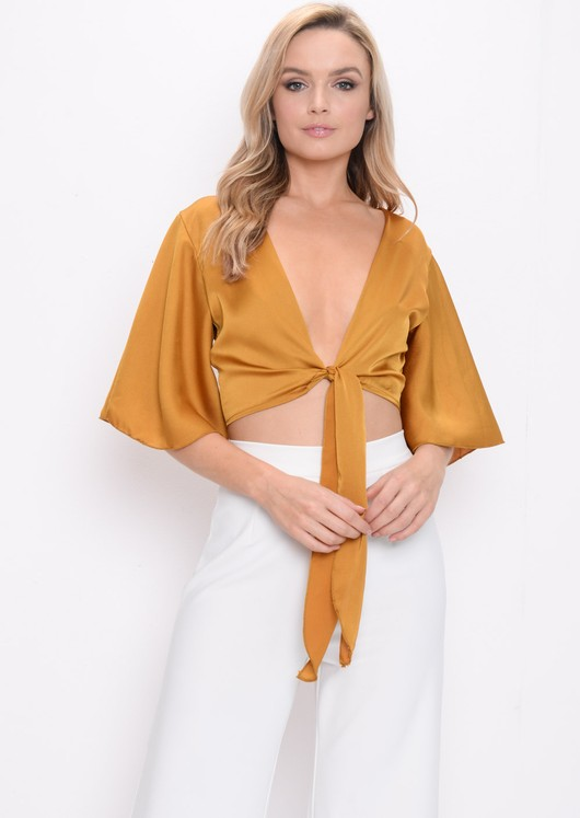 Flare Sleeve Tie Front Crop Top Mustard Yellow