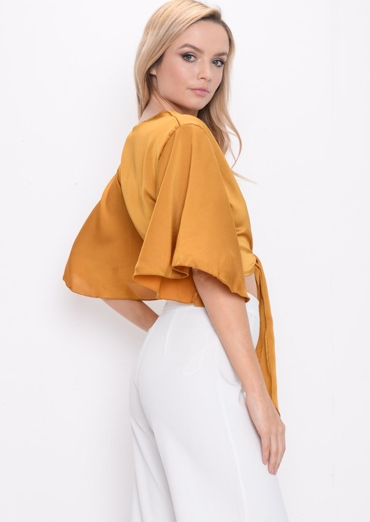 Flare Sleeve Tie Front Crop Top Mustard Yellow