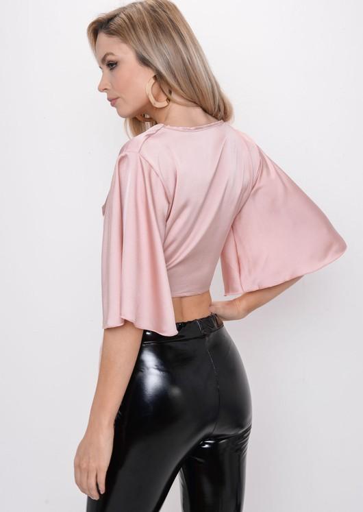 Flare Sleeve Tie Front Crop Top Pink