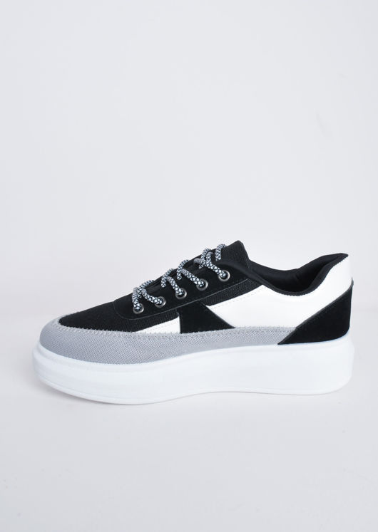 Flatform Block Colour Lace Up Chunky Trainers Grey