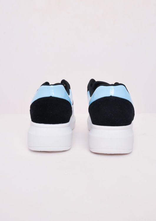 Flatform Block Colour Lace Up Chunky Trainers Blue