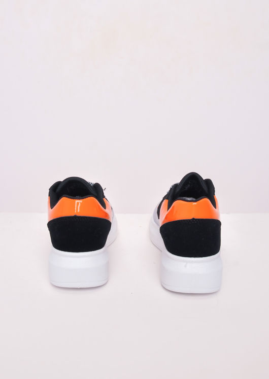 Flatform Block Colour Lace Up Chunky Trainers Orange