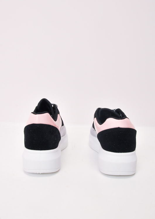 Flatform Block Colour Lace Up Chunky Trainers Pink