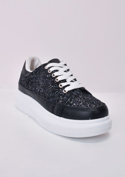 Flatform Glitter Lace Up Faux Leather Chunky Trainers Black