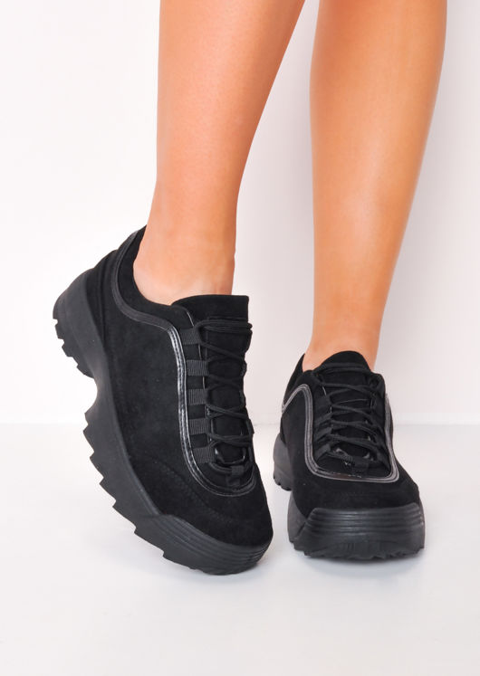Flatform Faux Suede Chunky Trainers Black