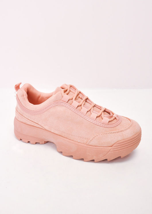 Flatform Faux Suede Chunky Trainers Pink