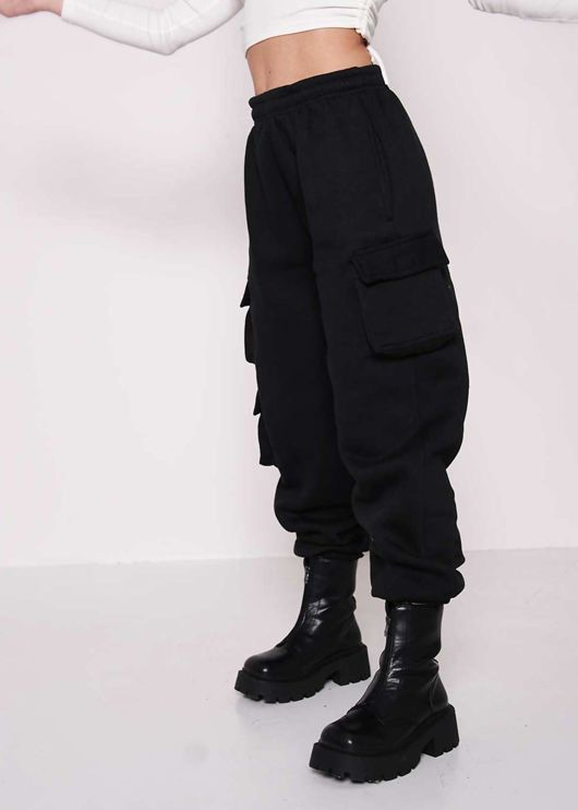 High Waisted Fleeced Utility Cargo Jogger Pants Black
