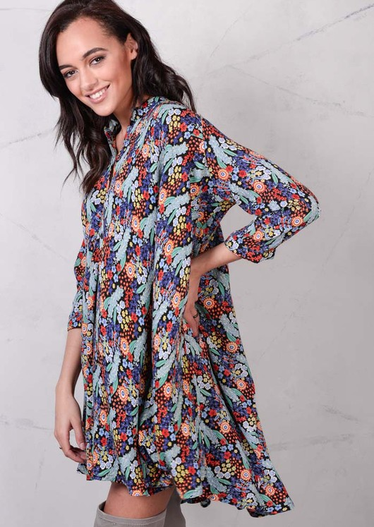 Floaty Floral Shirt Boho Dip Hem Summer Dress Blue