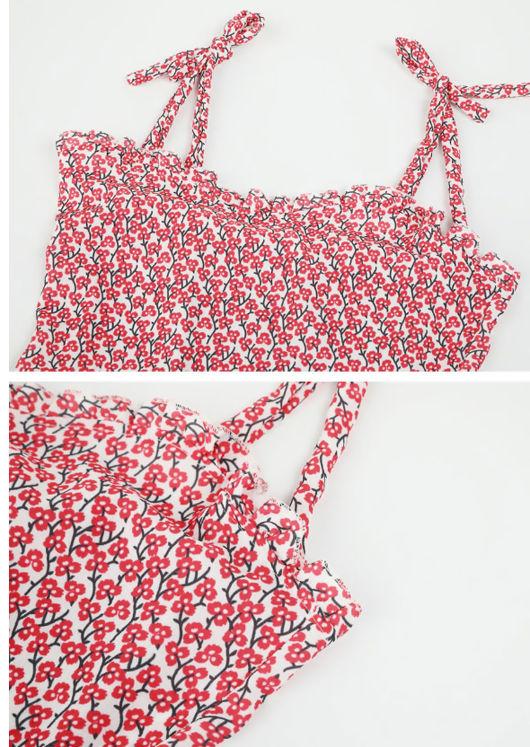 Flora Print Frill Hem Tie Midi Dress White