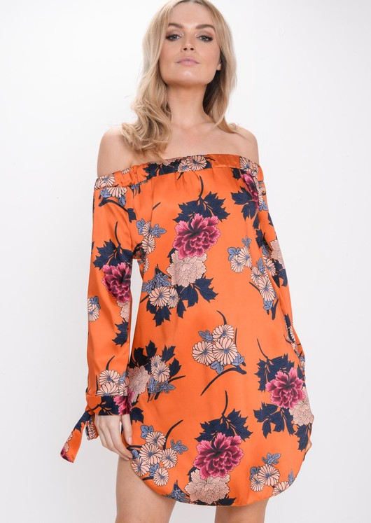 Floral Bardot Dress Orange