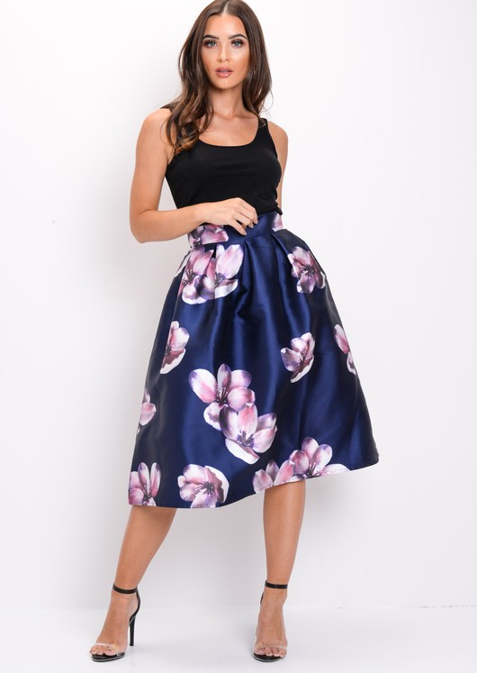 Floral Circle Midi Skirt Navy Blue