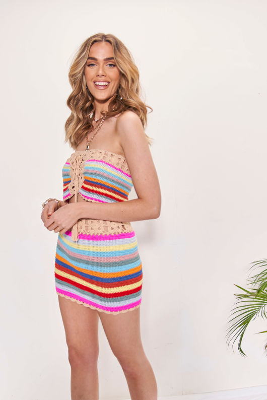 Floral Crochet Front Drawstring Lace Up Bandeau Bikini Top Multi