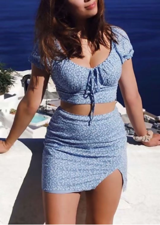 Floral Cropped Top Mini Skirt Co Ord Set Blue