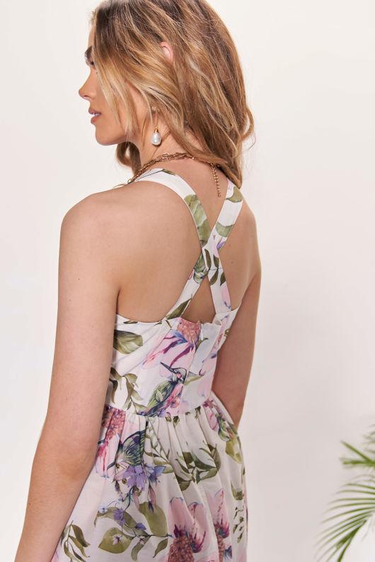 Floral Cross Over Back Shoulder Strapped Frilled Midi Dress White
