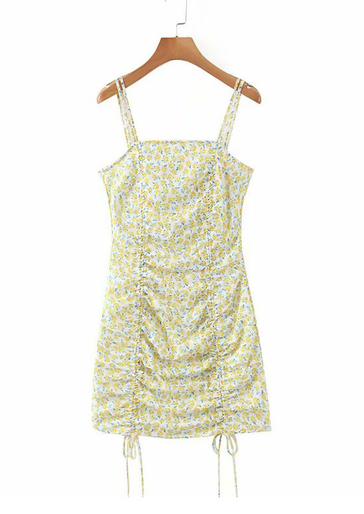 Floral Drawstring Front Strappy Mini Dress Yellow