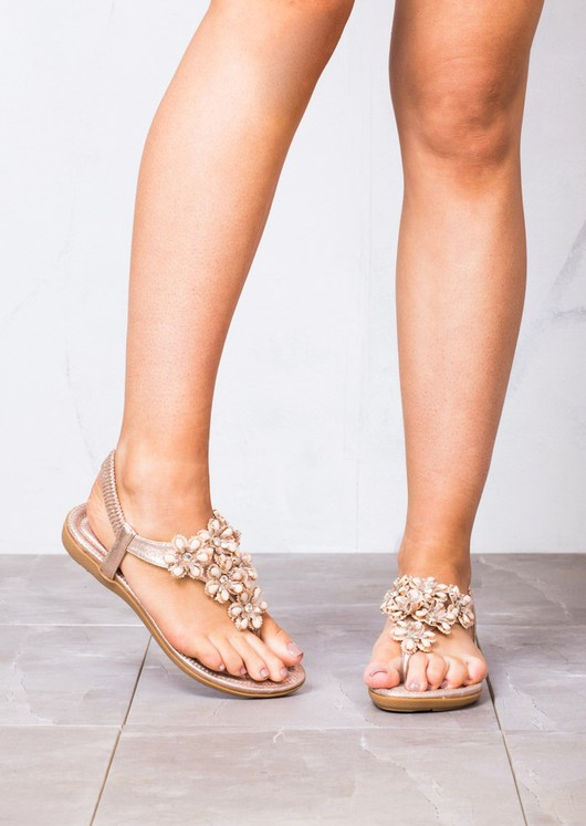Summer Floral Embellished Flat Sandals Bar Padded T Rose Gold MUzSVp
