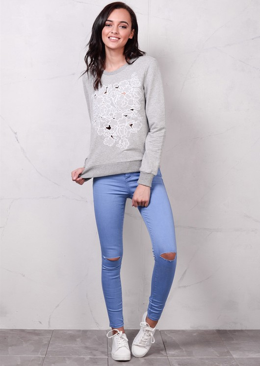 Floral Embroidered Cut Out Sweatshirt Grey