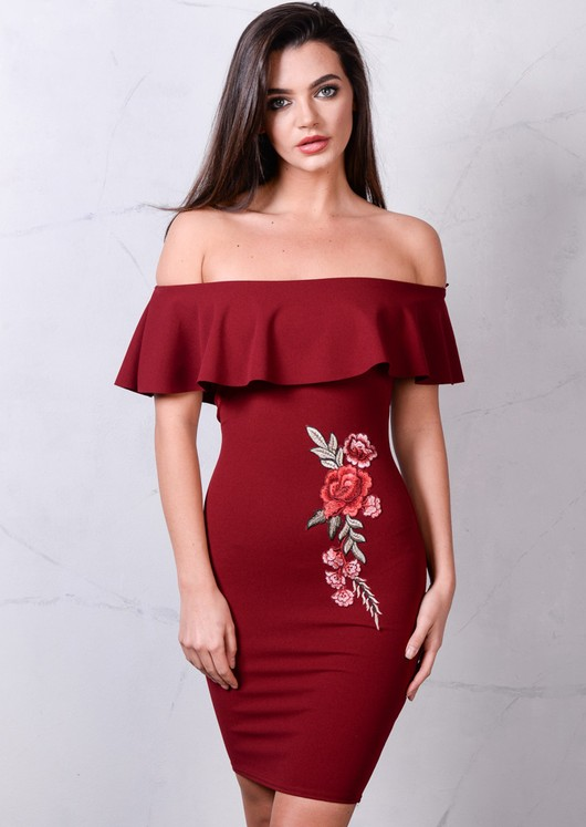 Floral Embroidered Frill Bardot Bodycon Dress Burgundy Red